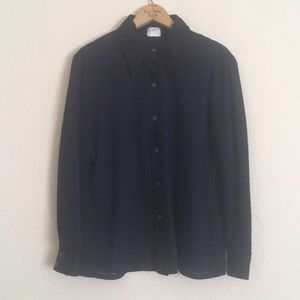 VINTAGE Sheer Dark Blue Button Down